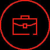 Das Icon zeigt eine Aktentasche - unsere Outplacement Berater sind seit über 30 Jahren am Markt erfolgreich.