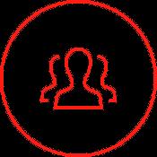 Ein Icon zeigt mehrere Personen. Besetzen Sie die Positionen in Ihrem Unternehmen mit den richtigen Mitarbeitern – Redeployment und Restrukturierung helfen dabei.