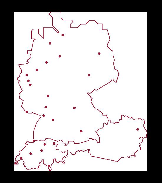 Karte der 27 Standorte in Deutschland, Österreich und der Schweiz