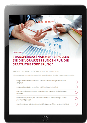 Checkliste zur Prüfung der staatlichen Förderung von Transfergesellschaft und Transferagentur