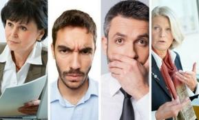 Fotomontage mehrerer Reaktionen von Mitarbeitern in einem Trennungsgespräch – vier Typen, vier Reaktionen, vier Handlungsempfehlungen im Kündigungsgespräch